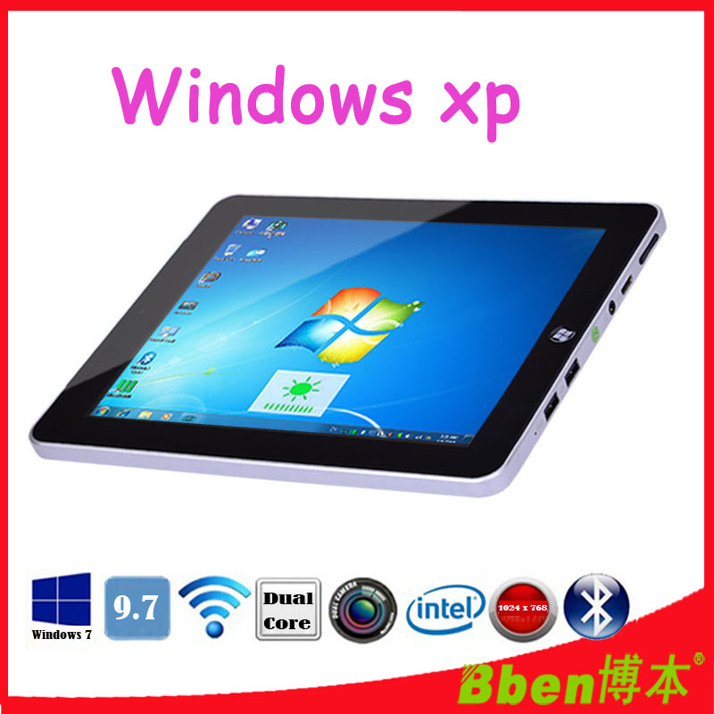 Free shipping ! 9.7 inch 1024*768 1.6GHz windows XP tablet pc intel N2600 CPU 3G phone tablet pc dual core support GPS tablet(China (Mainland))