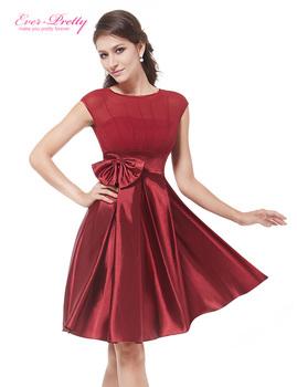 Cocktail Dresses Ever Pretty HE06113 Cute Women 2016 Knee Length Short Satin Vestidos Plus Size Sexy Women Cocktail Dresses