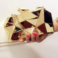 2015 new fashion geometric three-dimensional metal chain ladies handbag evening bag day clutches mini purse wedding party bag(China (Mainland))