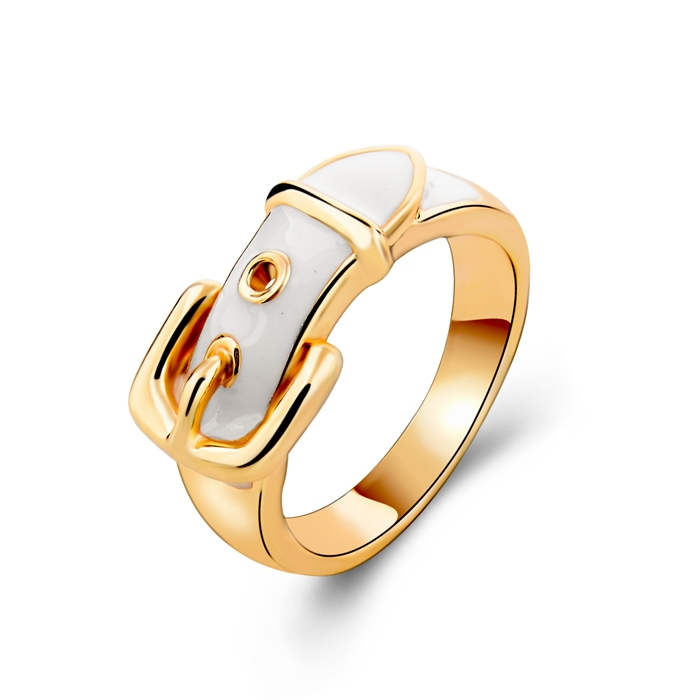 Fashion New Design Strap Rings For Women Gold Plated Men Ring White Enamel Ring Free Shipping(China (Mainland))