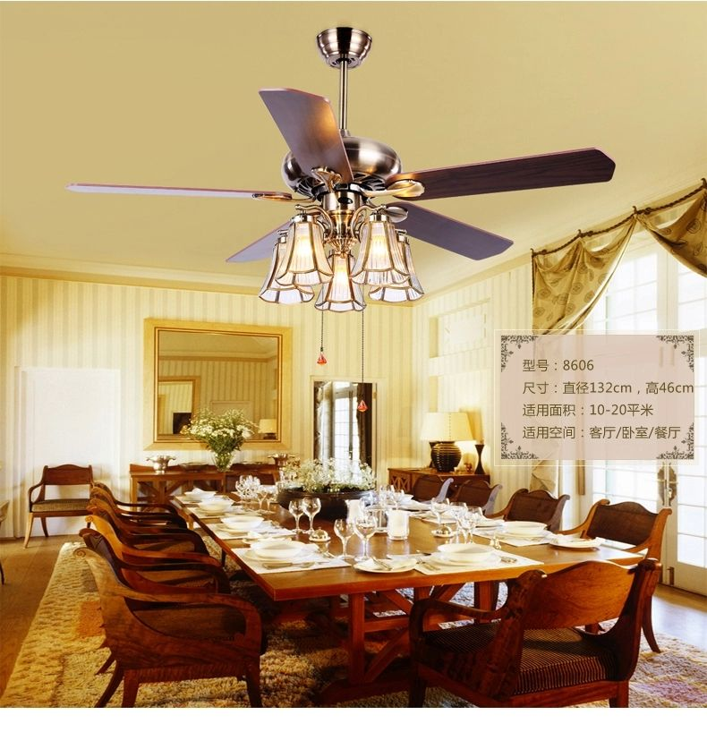 American Art Copper Shade 52inch Ceiling Fan LightsTiffany Living Room Fan Di