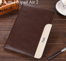 Luxury Ultra Slim Lambskin Cover For Apple ipad Air 2 6 Leather Case 7 Colors Covers Stand With Hand Holder Free stylus(China (Mainland))