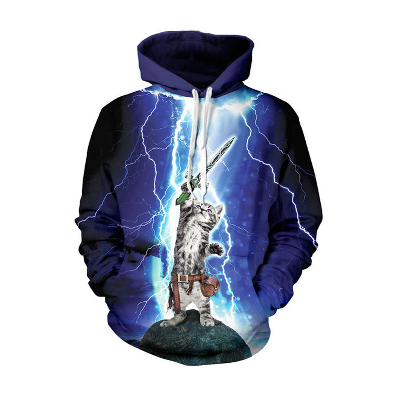 Drawstring Men/Women Hooded Sweatshirt 3D Cool Fighting Cat print Women Animal Sport Tracksuit