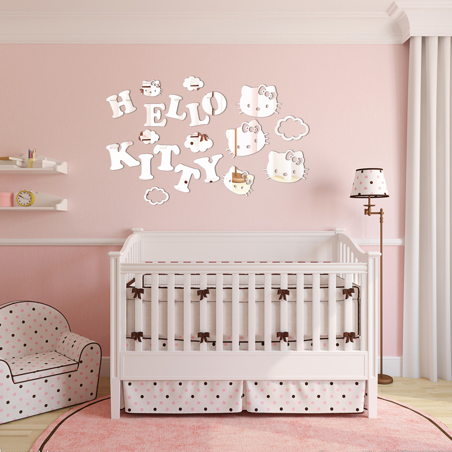 Acrylic Wall Mirror Stickers DIY HELLO KITTY Clouds Childrenu0026#39;s room ...