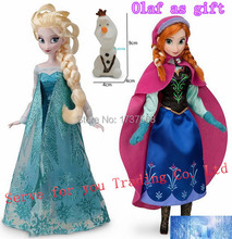 Free shipping!  Elsa doll Anna doll 11.5 Inch Elsa and Anna with small Olaf gift, Elsa Anna Girl Gift Doll Full Joint Moveable(China (Mainland))