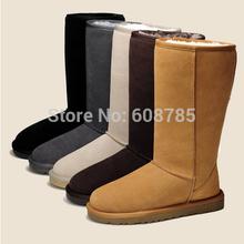 ¡ Caliente! nuevo 2014 Mujeres del Invierno Genuino de Cuero de Vaca Botas de Nieve Caliente Botas Zapatos de Mujer Suela de Goma Plana Envío Libre B1278(China (Mainland))