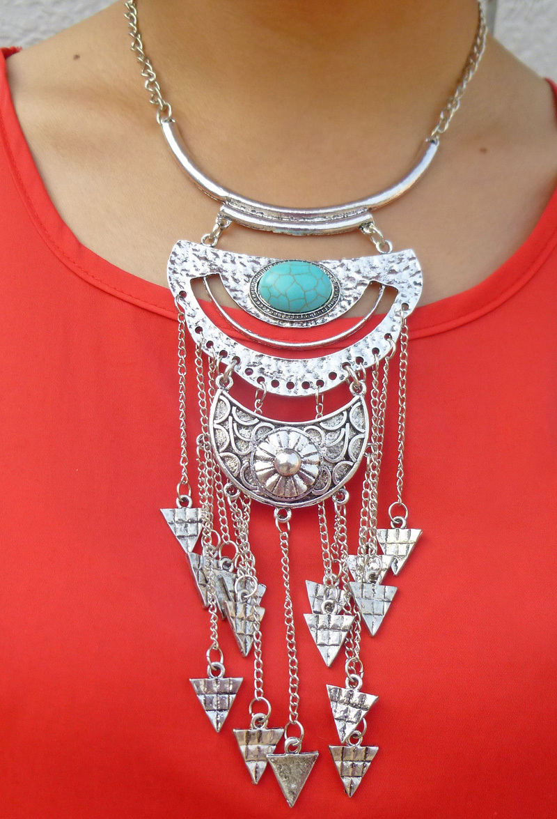 Bohemian Ethnic Retro Silver Crescent Turquoise Gem Danging Triangle Long Chain Tassel Choker Bib Necklace Jewelry Lots 6Pcs<br><br>Aliexpress