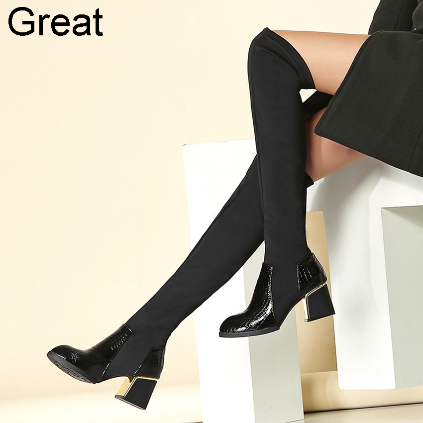 Гаджет  2014 Big Size 33-43 Black Leather  Fashion Sexy Over the Knee Thigh High Females Womens Girls Motorcycle Riding Boots X595 None Обувь