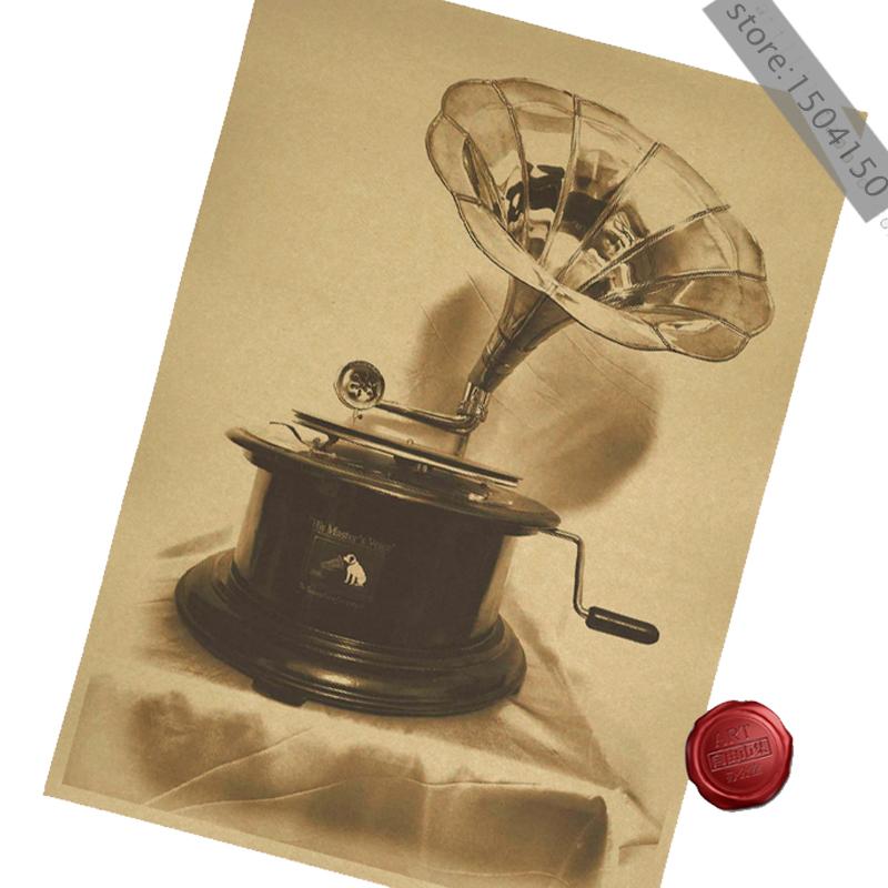 Old gramophone record player bookstore teahouse decoration placard poster retro nostalgia kraft paper 42 * 30CM(China (Mainland))
