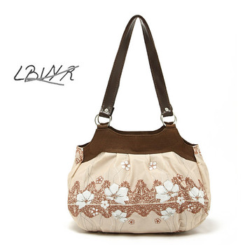 HOT SELLING! Endulge ibvyr beige simple and elegant flower women's handbag canvas bag FREE SHIPPING