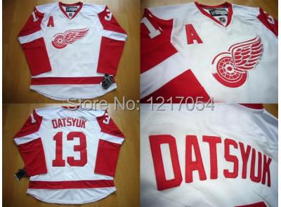 Free Shipping NHL JERSEY Detroit Red Wings #13 Pavel Datsyuk White Road Jersey(China (Mainland))
