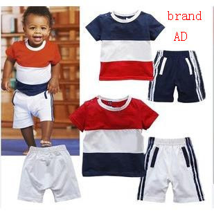 2015 New Arrival short sleeve t-shirt +shorts baby Boy clothing sets children Leisure suit kids' Boys' T-Shirts sports 3sets/lot