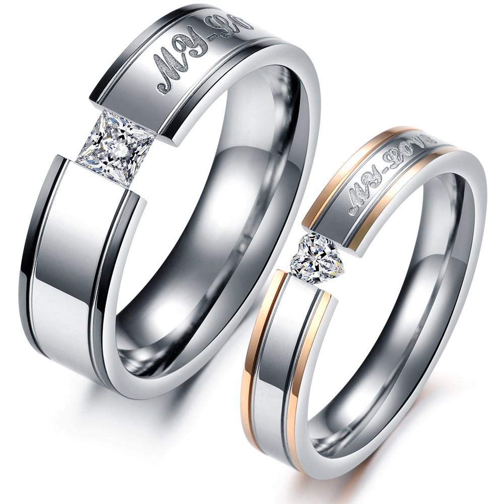 fashion heart aaa cubic zirconia rhinestone steel couple With wedding rings couple set