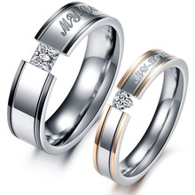 (min order 10$)Lover's Jewelry couple stainless steel ring wedding crystal lady size 5/6/7/8/9, male size 7/8/9/10/11/12 351