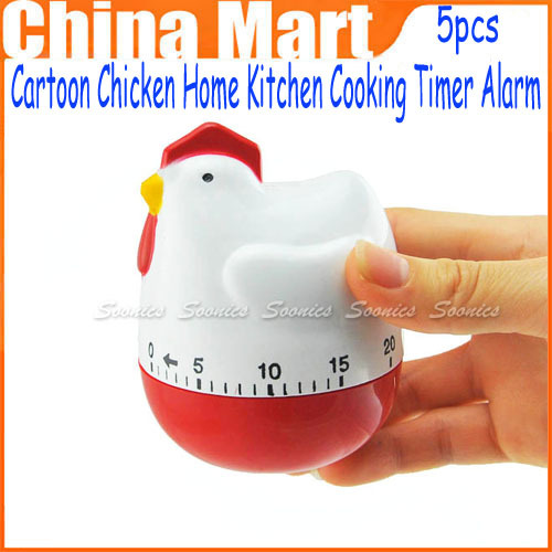 5pcs/lot New Mechanical Cartoon Chicken Home Kitchen Cooking Timer Alarm 60 Minutes(China (Mainland))
