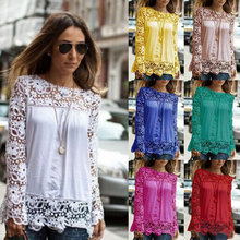 5XL  large size 2015 Fashion Women Lace long  Sleeve Chiffon Blouses Shirt  Crochet blusa Tops blusas femininas camisa  XXL(China (Mainland))