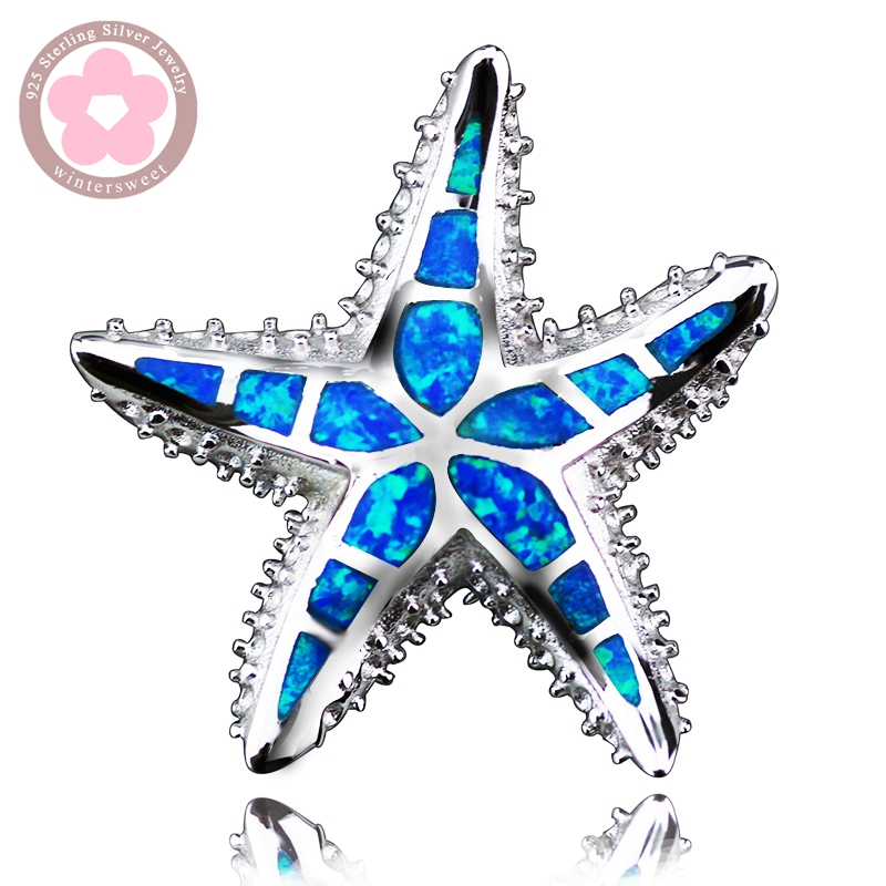 Sea Star Blue Opal Charm Pendant 925 Sterling Silver Jewelry Necklace Pendants for Women Precious Christmas Gift Fashion Jewelry(China (Mainland))