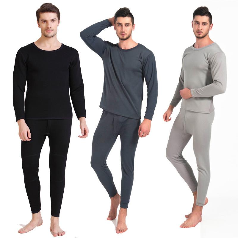 Sexy Men's Velvet Fleece Inner Long Sleeve Long Thermal Underwear Set Winter Warm Sleepwear Wear