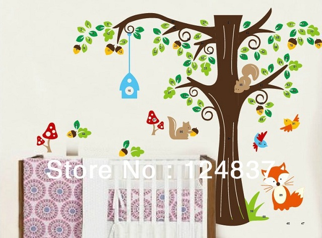 New Forest Animals Wall Sticker Fox Flowers Tree Stickers Cartoon Removable Decal Home Decor