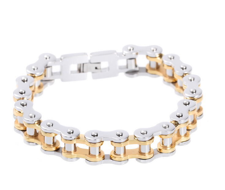 13mm Wide 316L Stainless Steel Silver&Gold Mens Bike Chain Bracelets bycicle Jewelry Boys Biker Titanium steel bangle Jewelry(China (Mainland))