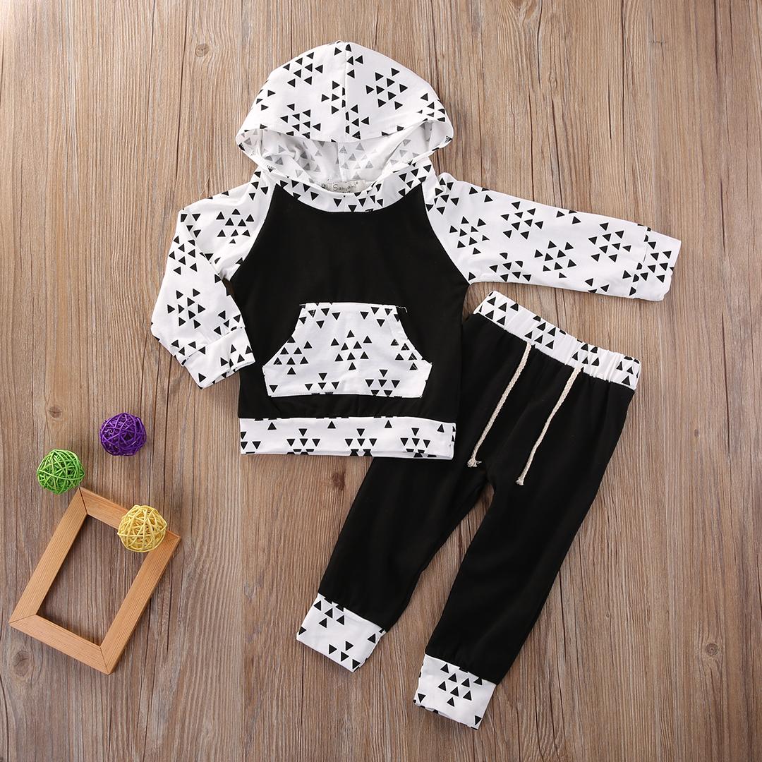 2Pcs Newborn Infant Baby Boy Girl Xmas New Clothes Long Sleeve Tops Hoody+Long Pants Cotton Outfits Set
