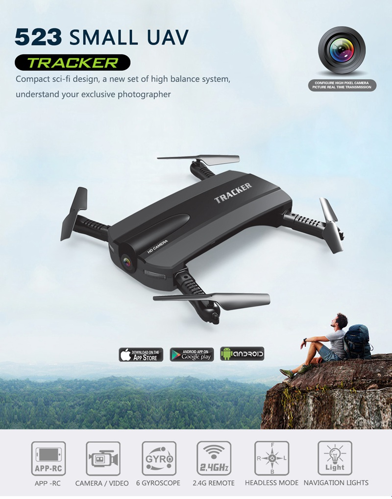 Foldable Drone With Camera Phone Control Fpv Quadcopter Rc Helicopter Wifi Mini Dron 523 Tracker Vs Jjrc H37 Selfie Drone