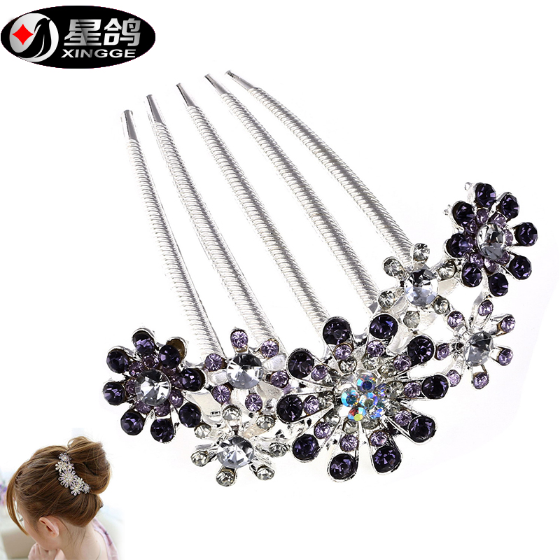 High Quality Women Jewelry Crystal Rhinestone Petal Tuck Comb Flower Pin Hair Clip HF065(China (Mainland))