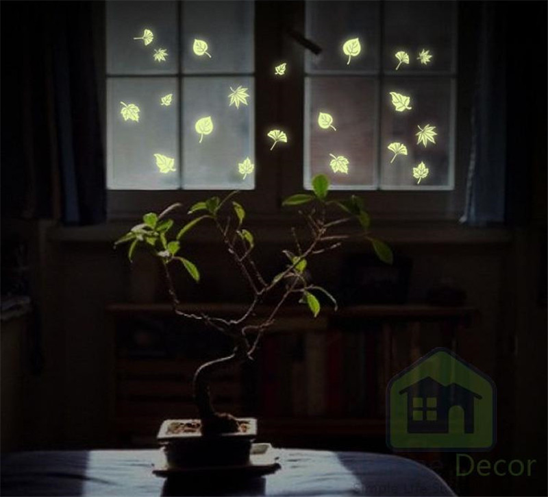 Leaf Luminous Fluorescent Wall Stickers for kids rooms Glow In The Dark Fluorescent luminous wall stickers home decor(China (Mainland))