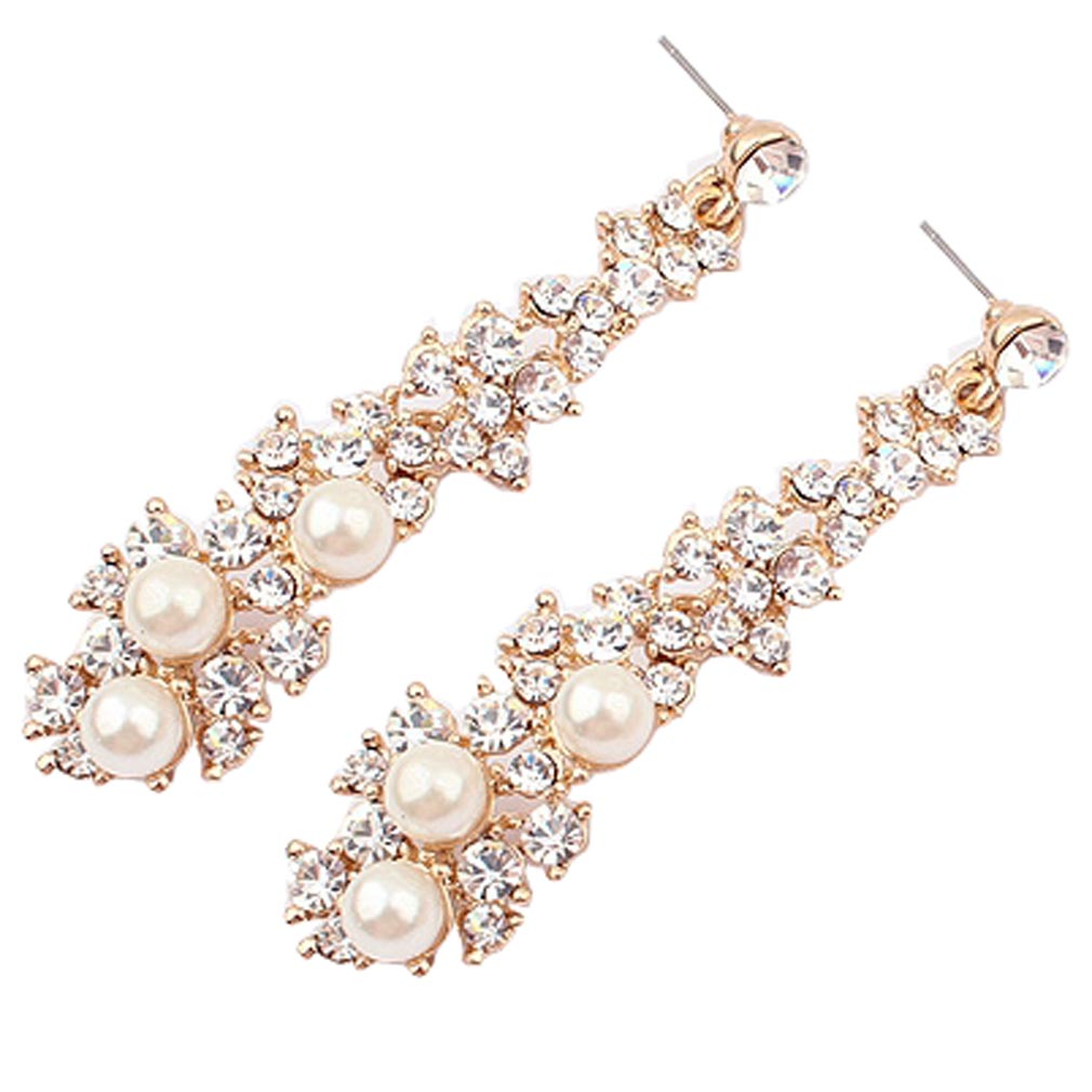 Fashion Summer style Women Evening Fine  Jewelery Brincos Full Crystal Pearls  Gold Filled Long Drop Earrings For Women(China (Mainland))