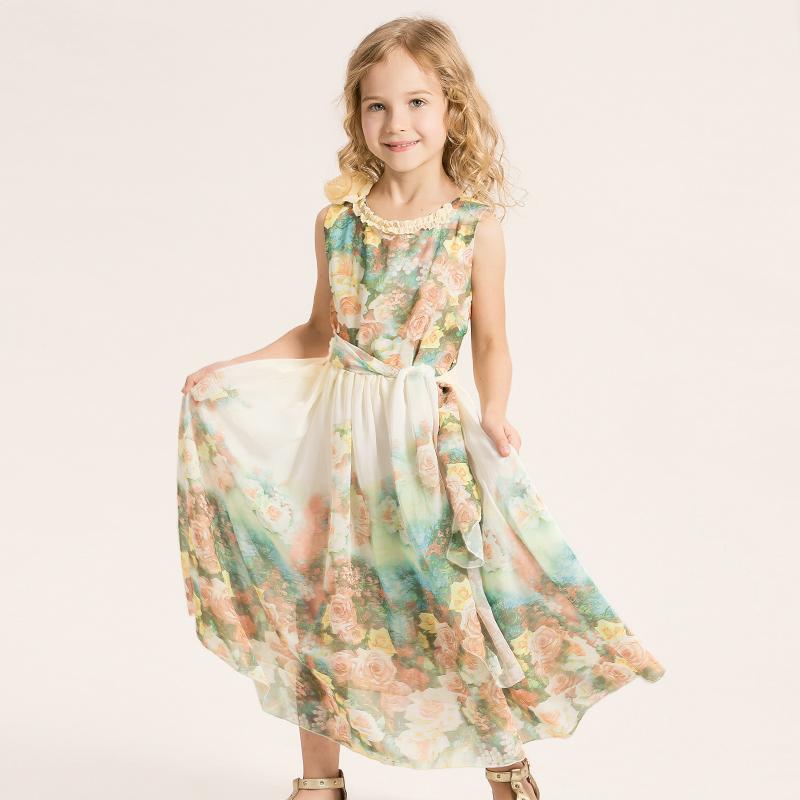 Girls Dress Kids Print Flower Girl Party Princess Bohemian Dresses Children Clothing vestido infantil Long Beach Dress+Belt 2Pcs(China (Mainland))