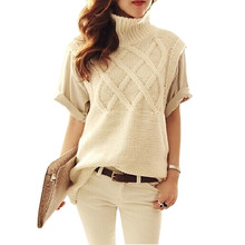 2016 New Fashion Brand Women's Turtleneck Knitted Sweater Sleeveless Knitted Pullover Casual Sweaters Knitting Vest Pull Femme