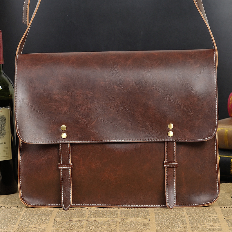 2015 Hot sale New Crazy Horse PU Leather Men Messenger Bags Vintage Brown Casual Business Briefcase Cross Body shoulder handbags(China (Mainland))