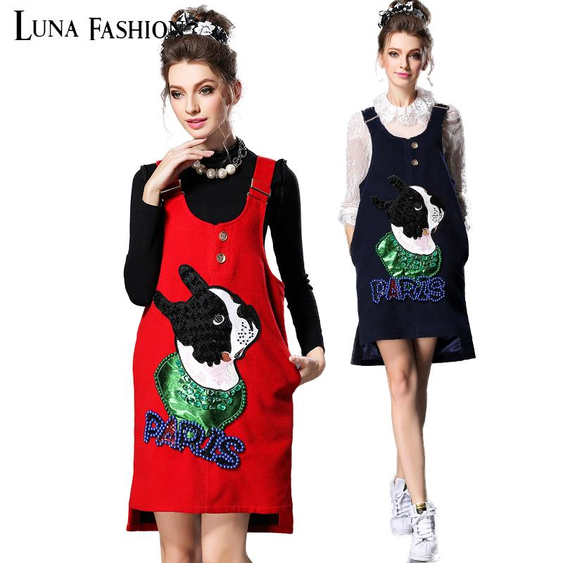 5XL plus size women clothing 4XL 3XL 2XL 2015 winter beading cartoon dog wool womens dress ladies dresses red blue