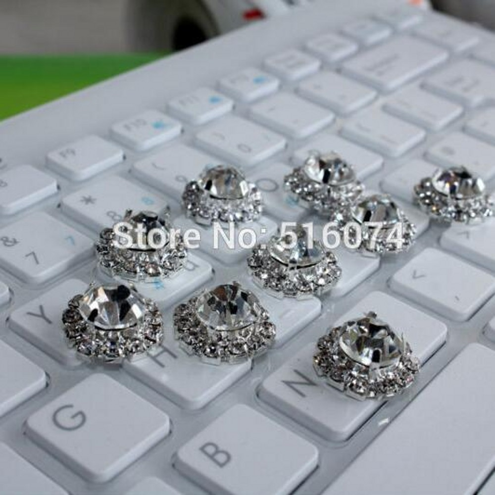20pcs/lot 18mm Shiny metal rhinestone button crystal button Flat back of buttons best clothing hair decoration ,free shiping(China (Mainland))