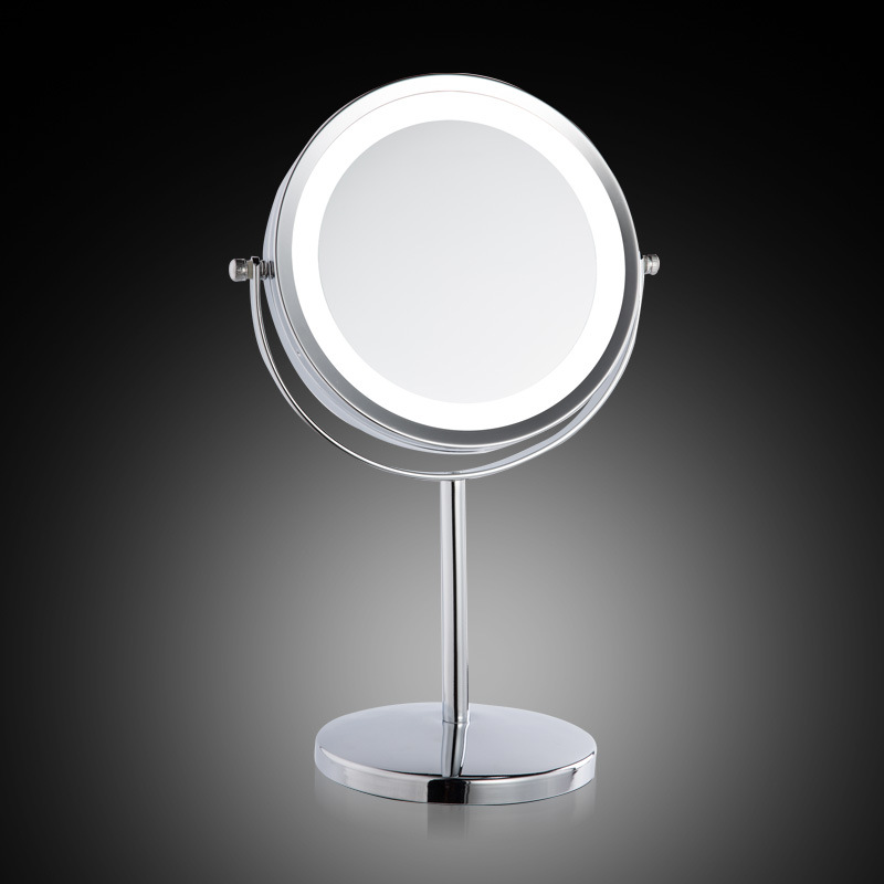 European Cosmetic mirror metal large 7 inch LED lamp desktop mirror 2-Face one is 3X zoom The girl makeup mirror with light(China (Mainland))