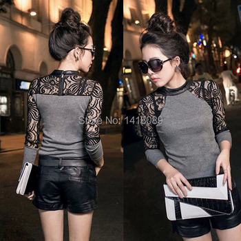 low price 0806 Women Tops Slim Knitwear Leather Crew Neck Lace Long Sleeve T-shirt