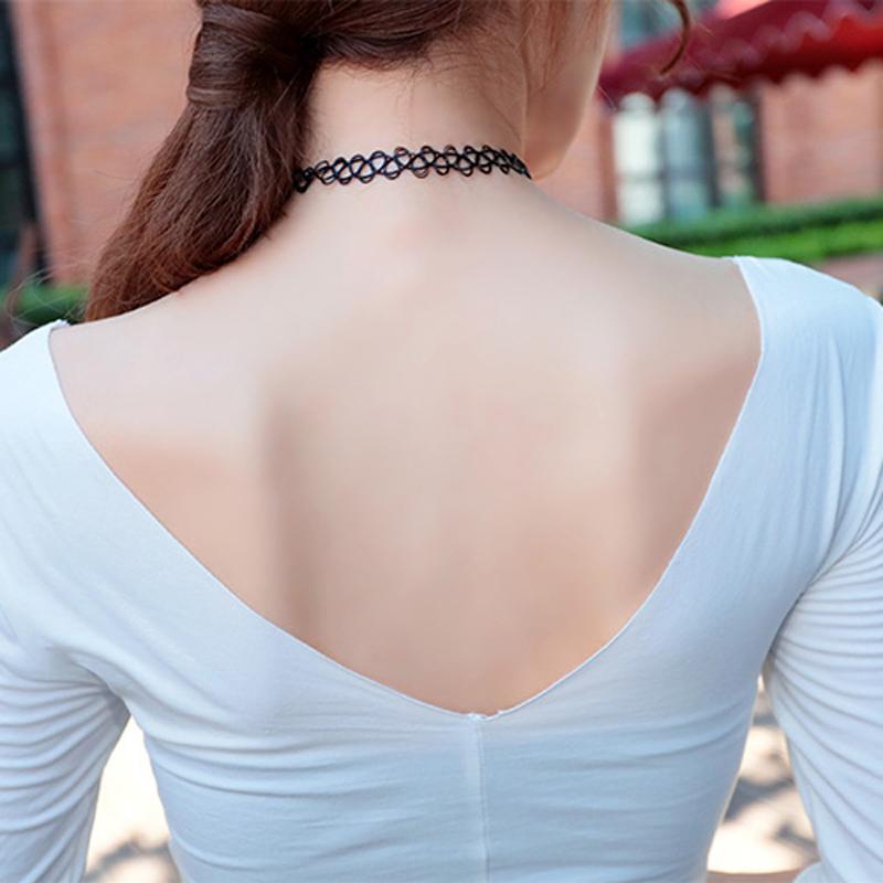 2016 collares Vintage Stretch Tattoo Gargantilla Collar Gótico Retro Elástico maxi collier femme bijoux Collares para las mujeres de la muchacha en