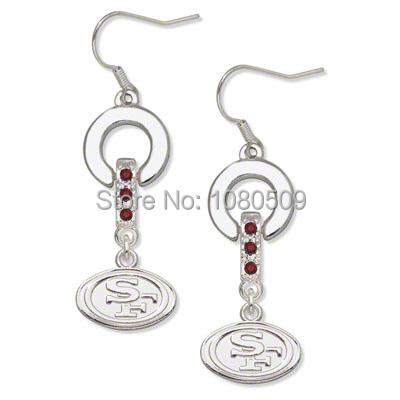 20 pairs/lot Red Crystal Earrings Rhodium Plated San Francisco 49ers Baseball Team Logo(China (Mainland))
