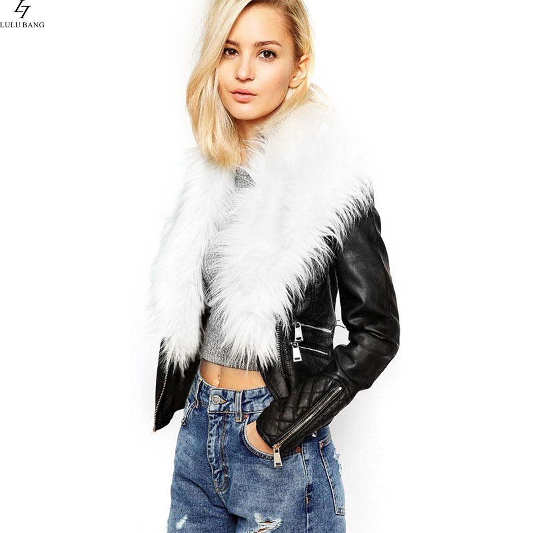 2016 New Stylish Ladies Cool Women Faux Fur Biker Jacket Synthetic Leather Motor Coat Slim Outerwear Winter Short