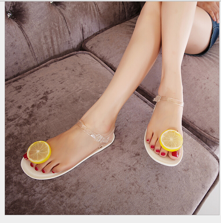Jelly Shoes Sandals Women Summer Lemon Flip Flops Flat Plastic Shoes For Women Beach Slipper New