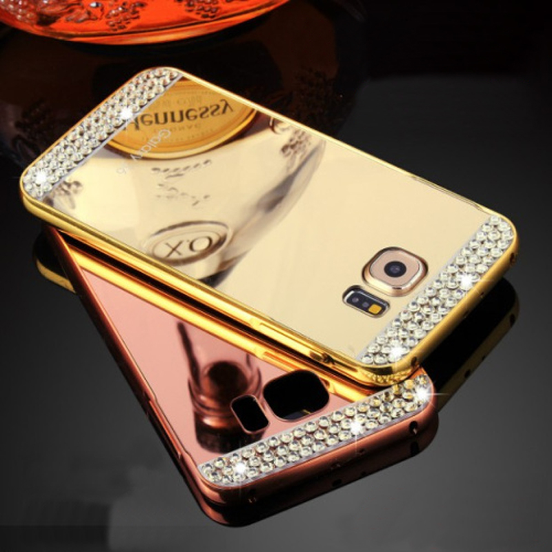 Case For Samsung Galaxy S7 S7 Edge Luxury Mirror Bling Rhinestone Diamond Gold Plated Case Metal Aluminum Frame Phone Bags Cover(China (Mainland))