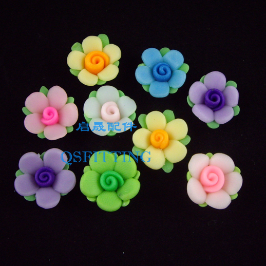 free shipping,DIY accessories,16MM polymer clay flowers,mix color,sticker<br><br>Aliexpress