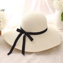 قبعة صيفية من القش النساء كبيرة واسعة حافة قبعة للشاطئ قبعة الشمس طوي الشمس كتلة الأشعة فوق البنفسجية حماية بنما قبعة العظام chapeu feminino(China)