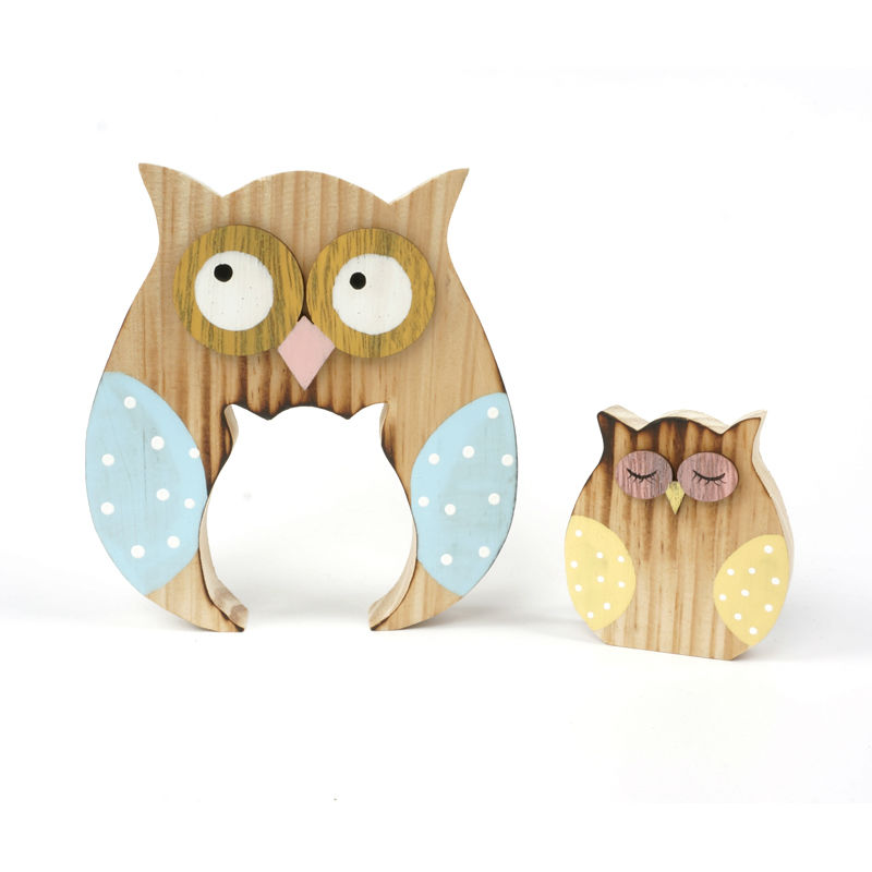 wood matryoshka owl home decor 3 sets