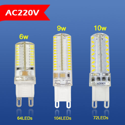 1x Mini High End Silicone Body G9 6W 9W 10W LED lamp AC220V SMD 3014 Dimmable LED Bulbs light For Crystal Chandelier Droplight(China (Mainland))