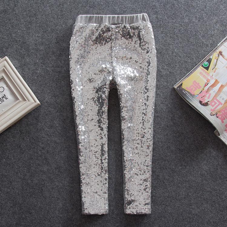 Hot selling Retail New 2016 girls sequins leggings cotton children pants kids warm elastic waist legging 2-6Y gray yellow pink(China (Mainland))