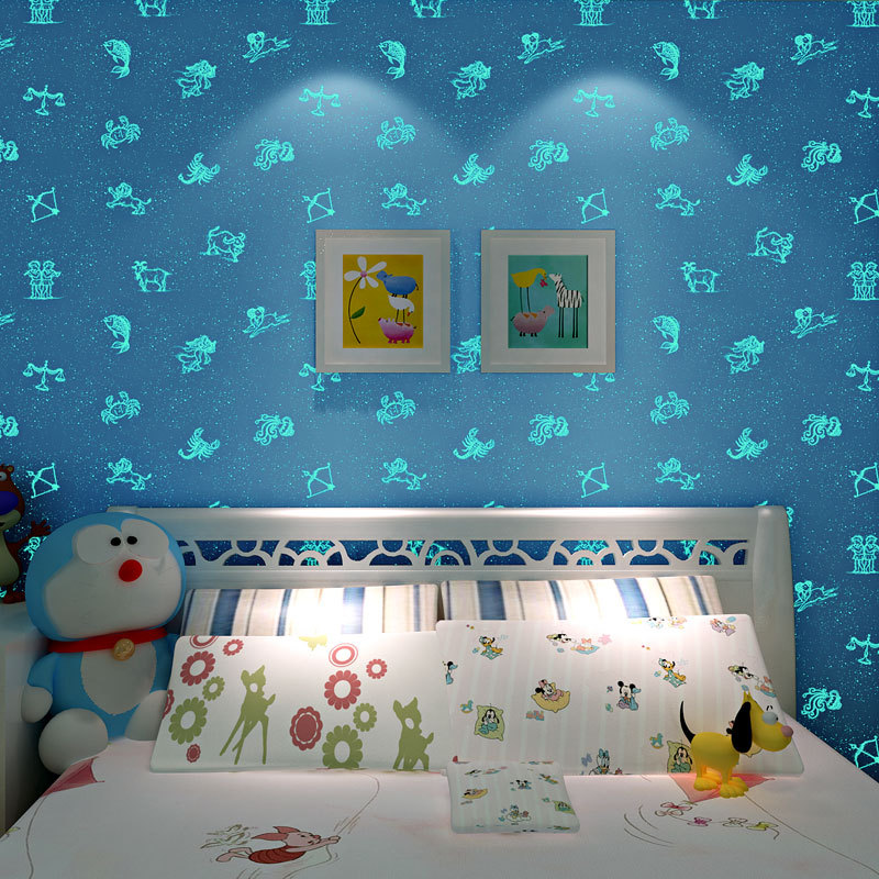 sky blue mediterranean non woven wallpaper boys girls