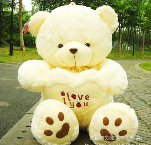 50cm Teddy Bear Stuffed Plush Toy With LOVE Heart ,Girl's Valentine Day Bear Toys,Kids Toys Brinquedos(China (Mainland))