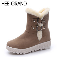 HEE GRAND Warm Women Snow Boots 2016 Platform Ankle Boots Winter Flock Shoes Woman Slip On Creepers Women Flats Shoes XWX4993(China (Mainland))