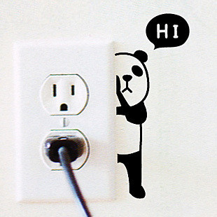 cute panda pattern stickers for home light switch cabinet bathroom furniture decor(China (Mainland))